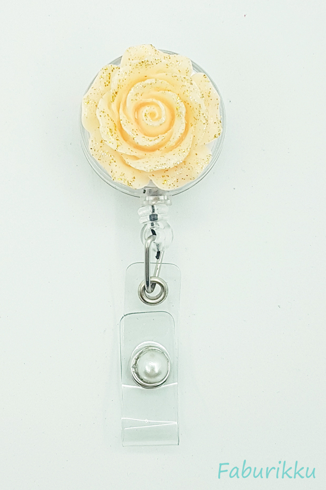 3D Rose Peach Clip-On Badge Reel