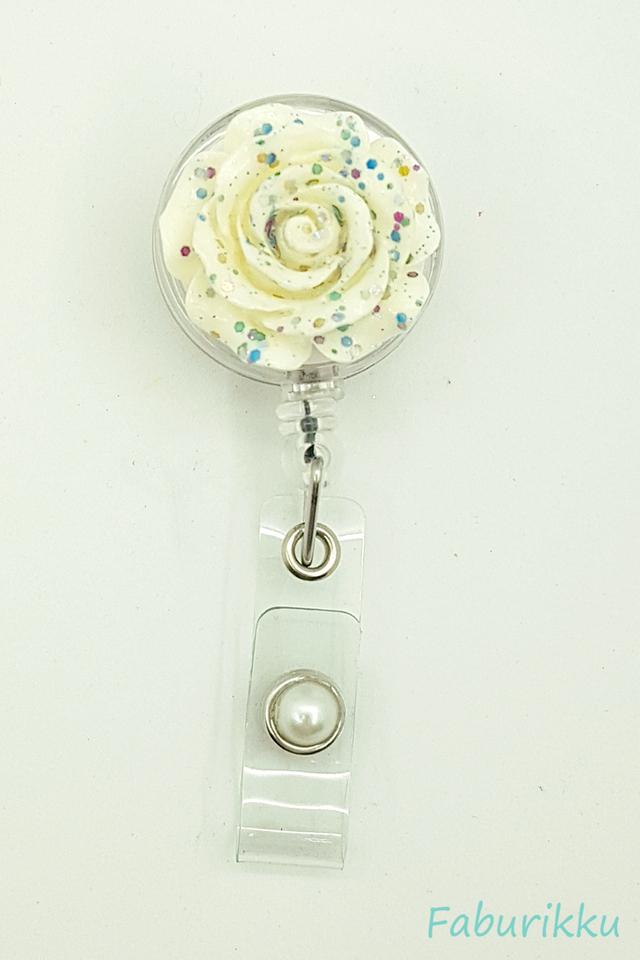 3D Rose Rainbow Clip-On Badge Reel
