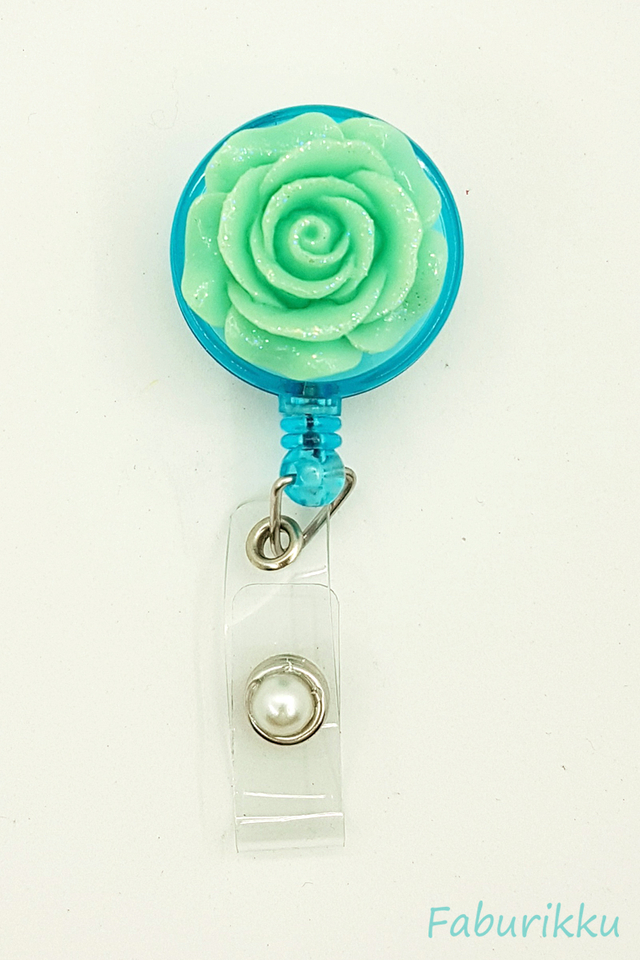 3D Rose Turquoise Clip-On Badge Reel