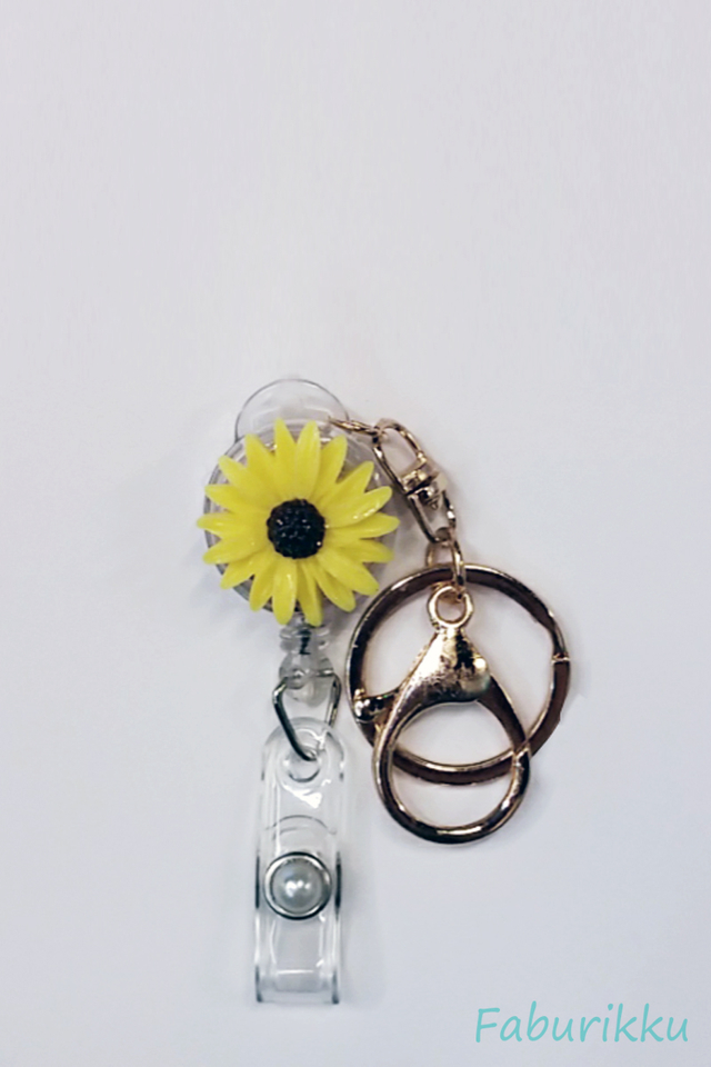 3D SunflowerYellow Hook-On Badge Reel