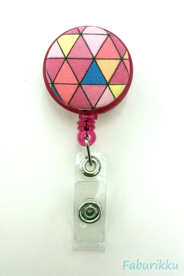 Abstract Print Magenta Clip-On Badge Reel