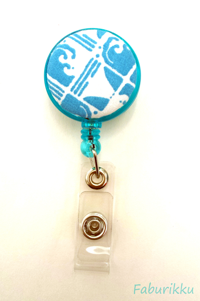 Abstract Print Turquoise Clip-On Badge Reel