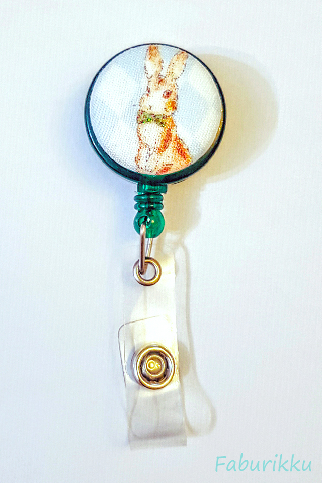Animal Country Rabbit Green Clip-On Badge Reel