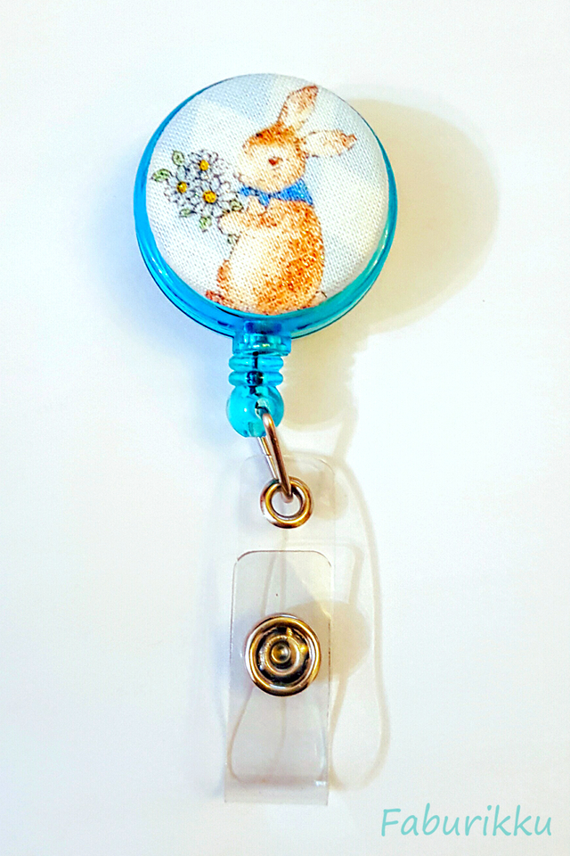 Animal Country Rabbit Turquoise Clip-On Badge Reel