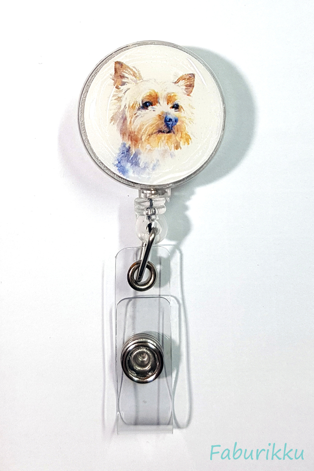 Animal Dog White Clip-On Badge Reel