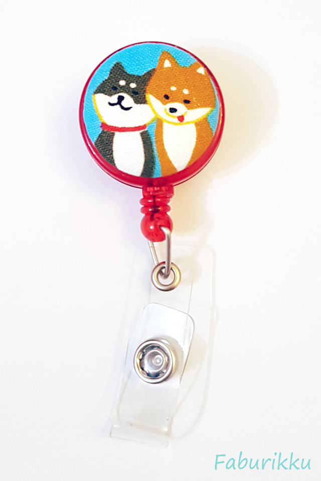 Animal Hachiko Red Clip-On Badge Reel