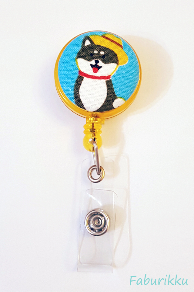 Animal Hachiko Yellow Clip-On Badge Reel