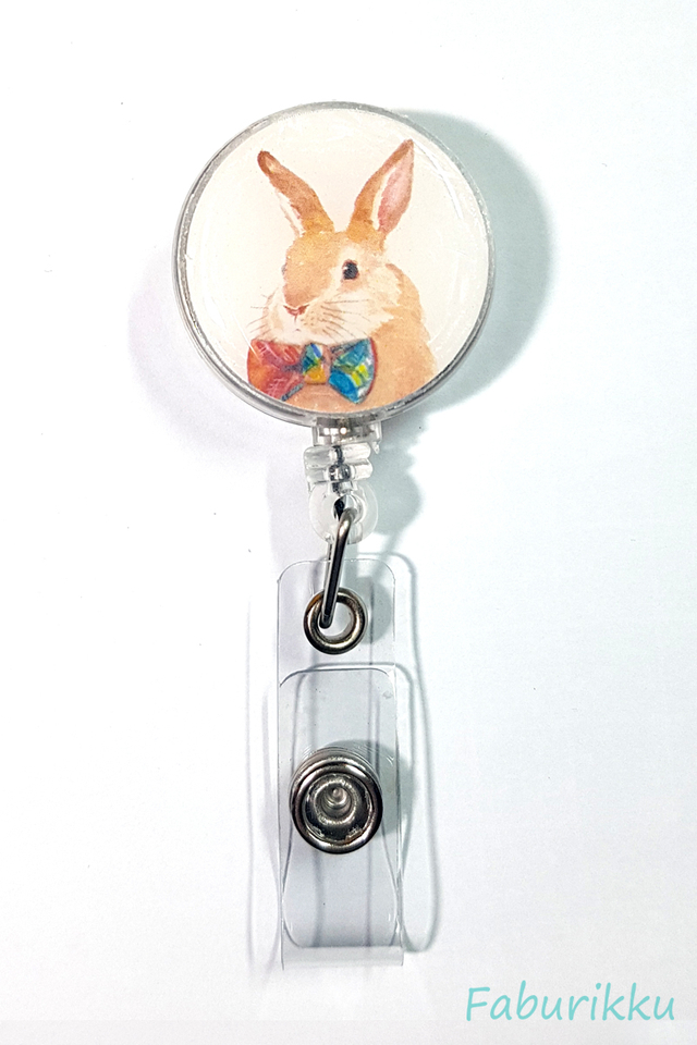 Animal Rabbit Bowtie Clip-On Badge Reel