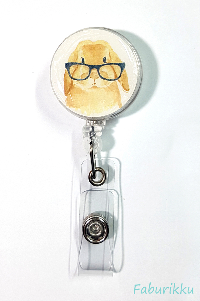 Animal Rabbit Specs Clip-On Badge Reel