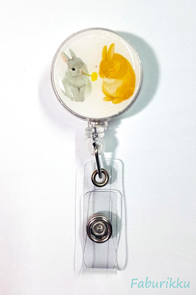 Animal RabbitTwins Clip-On Badge Reel