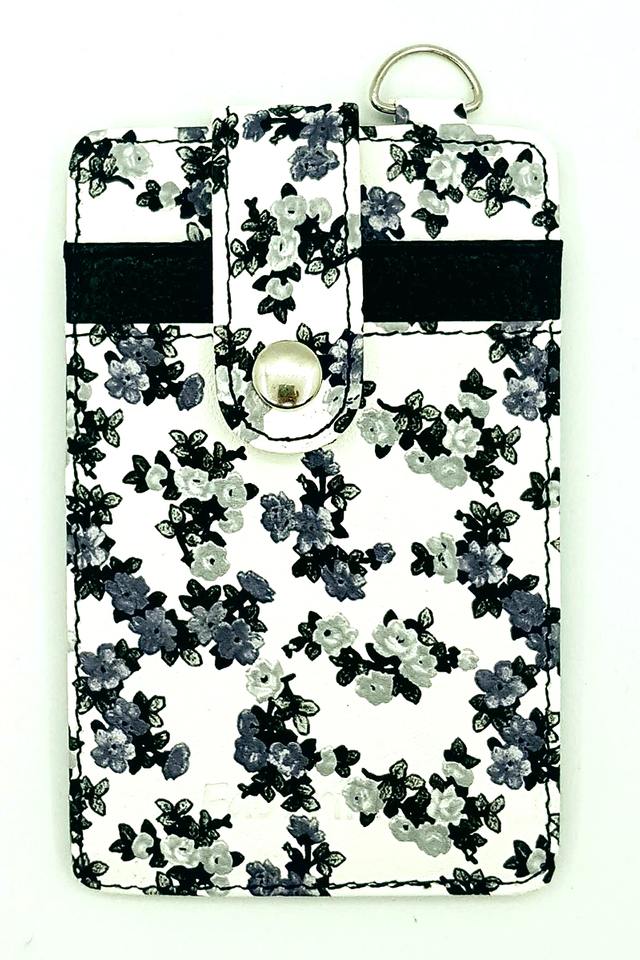 Black Floral Button Premium Cardholder Portrait
