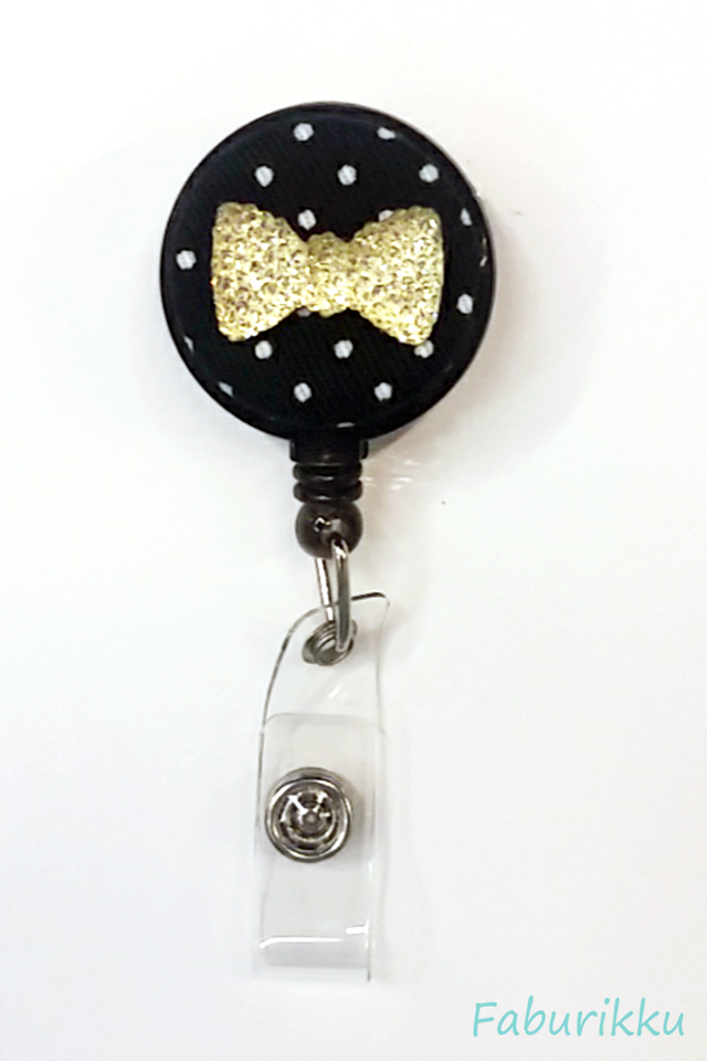 Bling Ribbon Black Clip-On Badge Reel