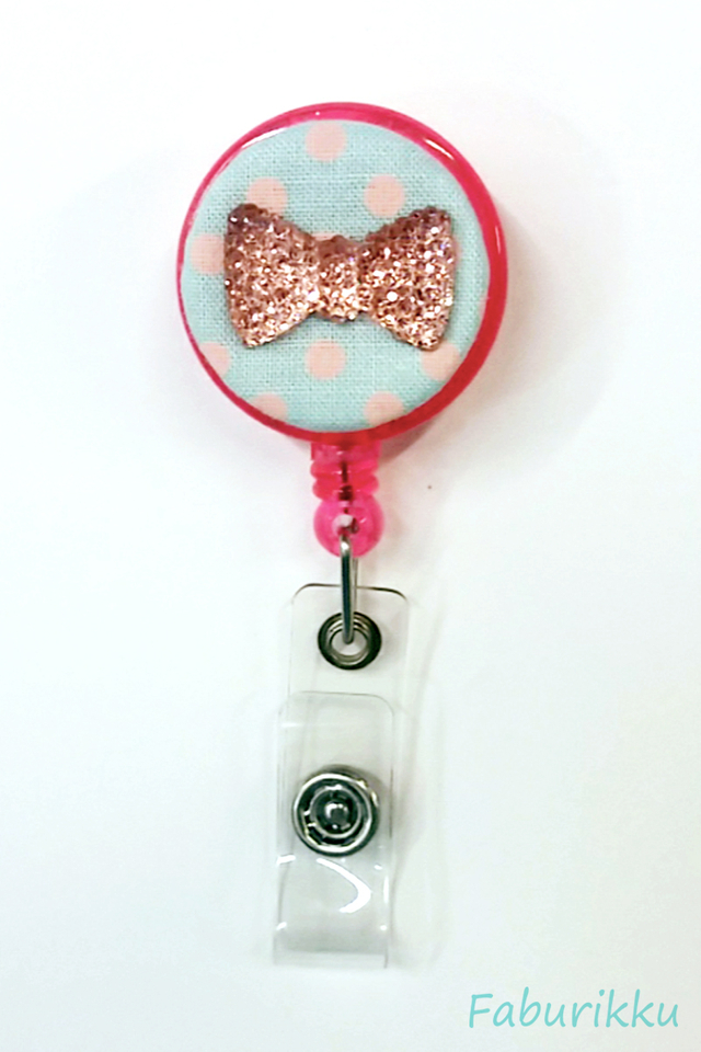 Bling Ribbon BluePink  Clip-On Badge Reel
