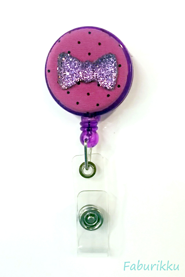 Bling Ribbon Purple Clip-On Badge Reel