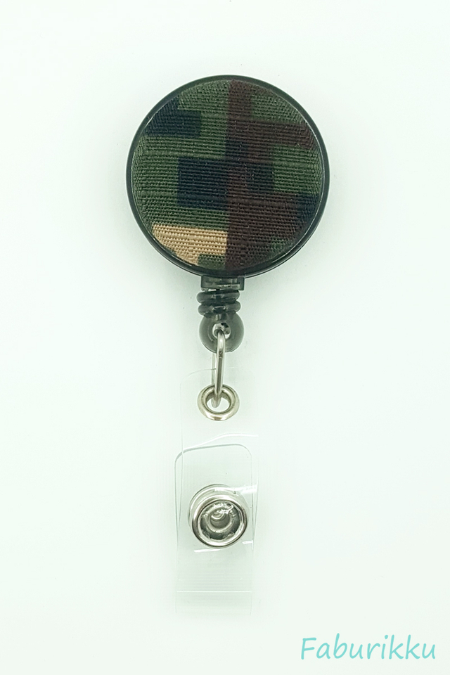 Camo Print Green Clip-On Badge Reel