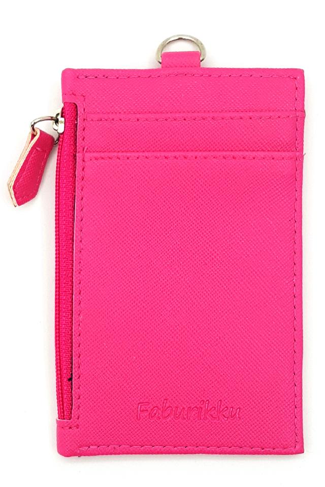 Dk Pink Zip Premium Cardholder Portrait