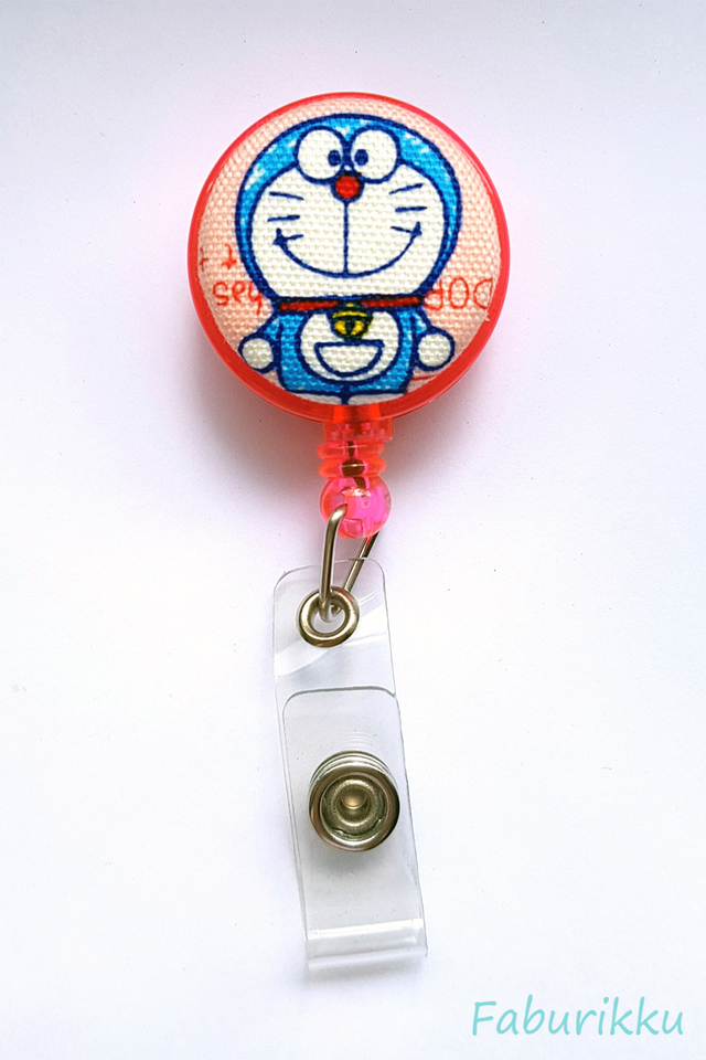 Doraemon Pink Full Clip-On Badge Reel