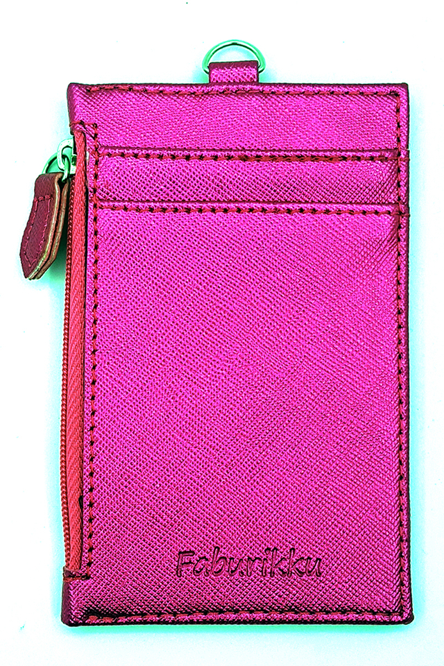 Electric Pink Zip Premium Cardholder Portrait