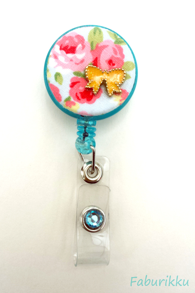 Floral Ribbon Turquoise Clip-On Badge Reel