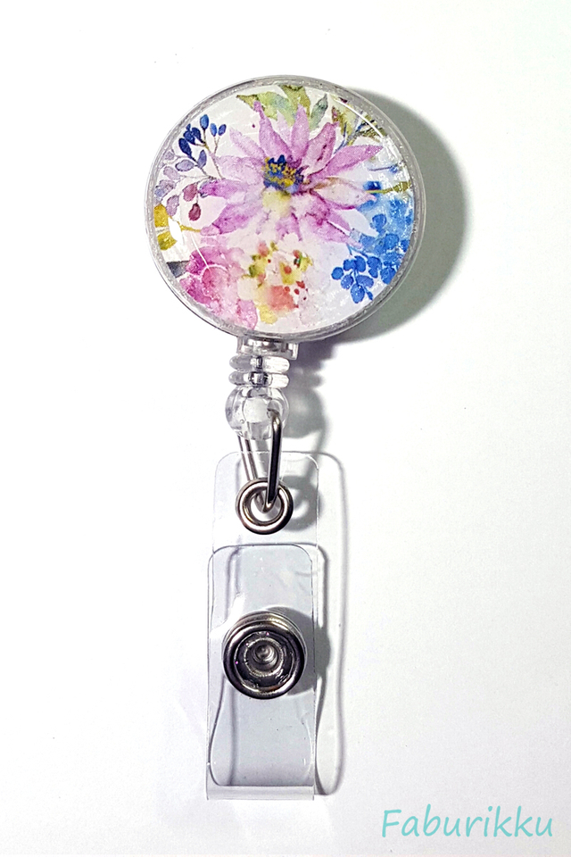 Flower Print Rich Clip-On Badge Reel