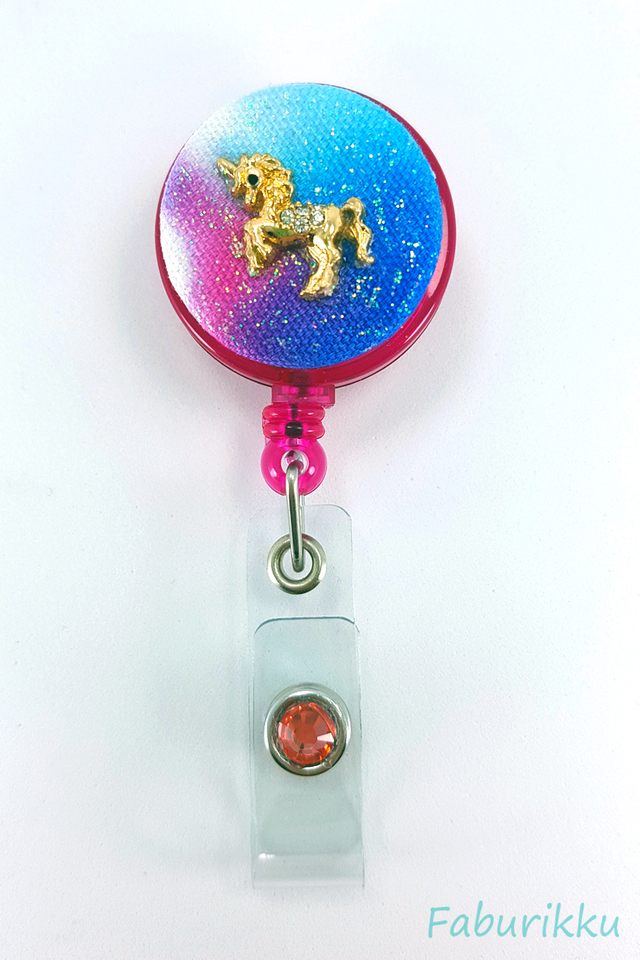 Galaxy Unicorn Magenta Clip-On Badge Reel