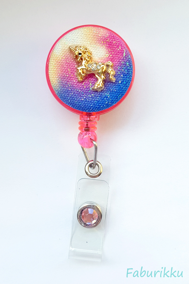 Galaxy Unicorn Pink Clip-On Badge Reel