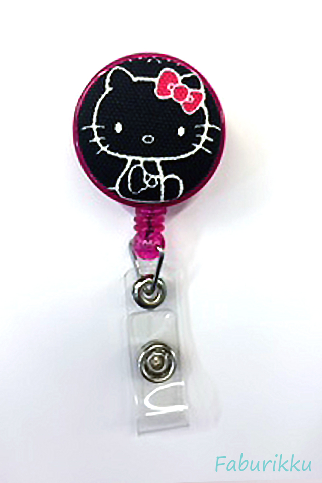 Hello Kitty Black Head Clip-On Badge Reel