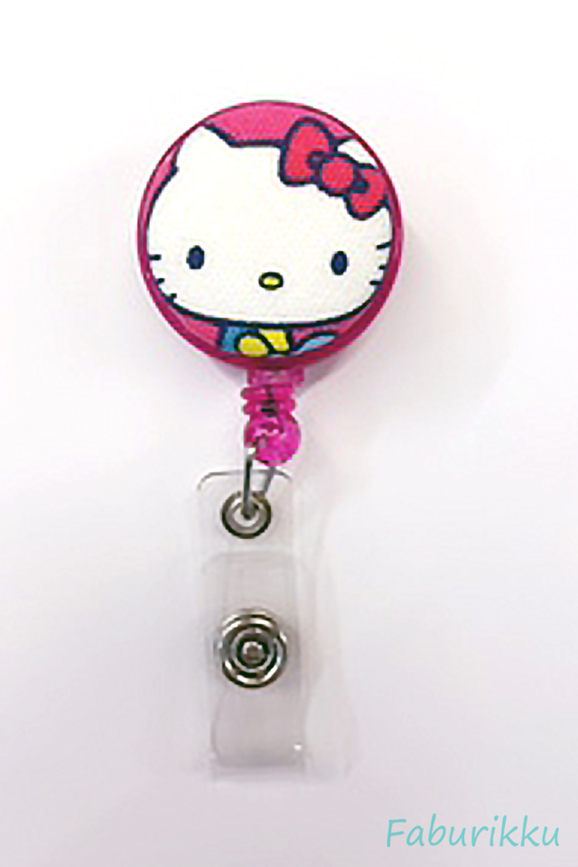 Hello Kitty Magenta Head Clip-On Badge Reel