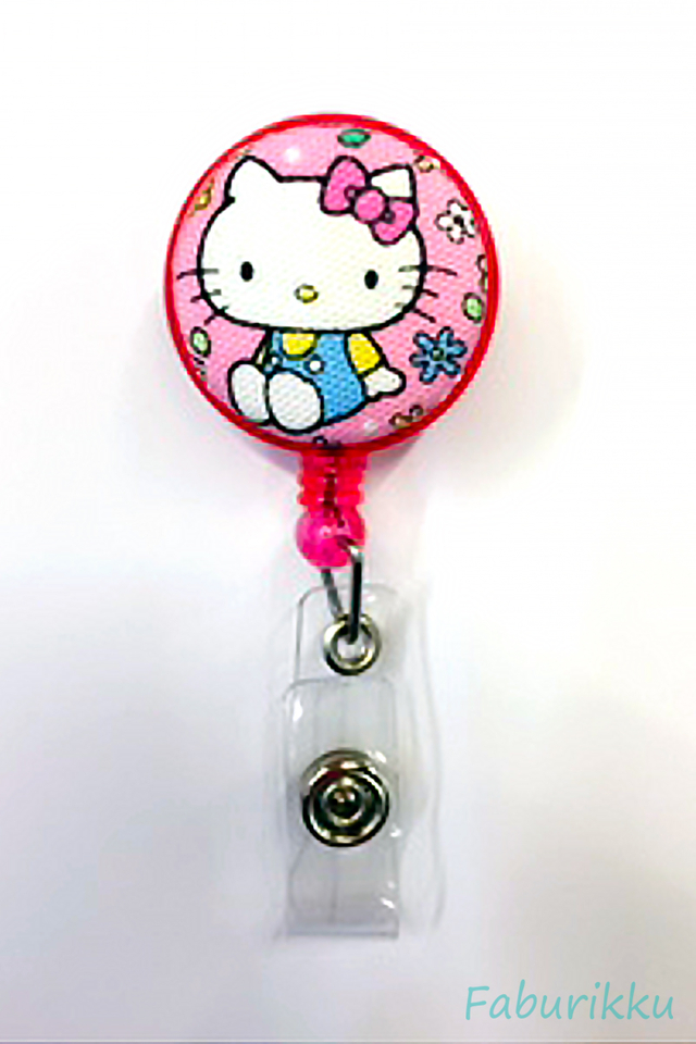Hello Kitty Pink Sit Clip-On Badge Reel