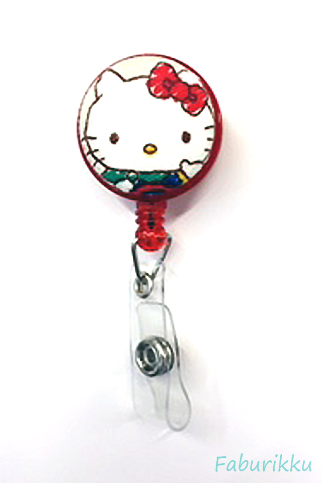 Hello Kitty Red Sketch Clip-On Badge Reel