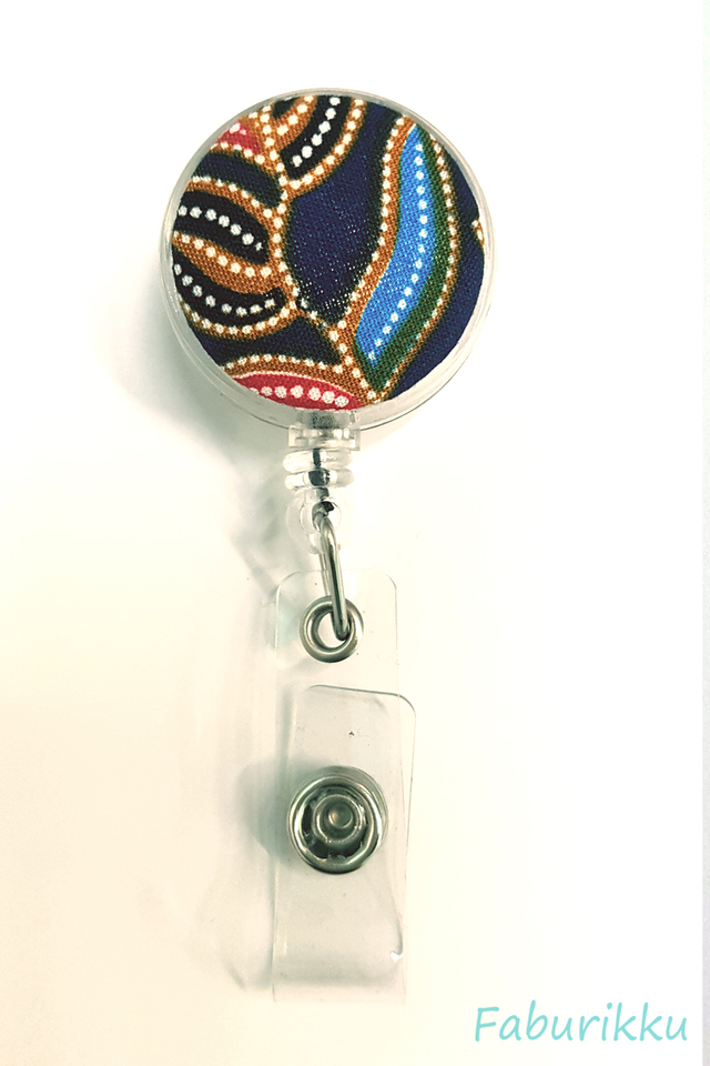 Kebaya Print Clear Clip-On Badge Reel