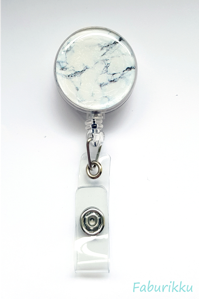 Marble Print BlackWhite Clip-On Badge Reel