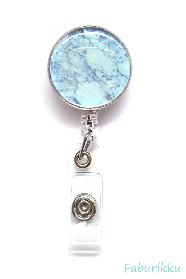 Marble Print Grey Clip-On Badge Reel