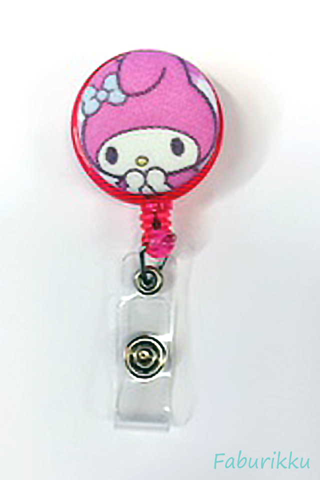 My Melody PinkExclaim Clip-On Badge Reel
