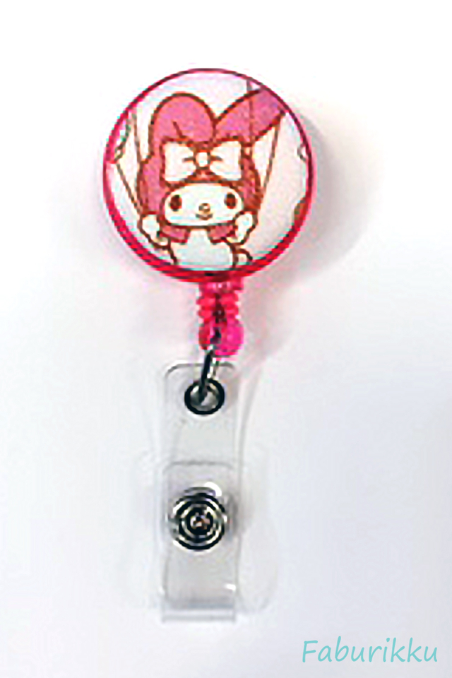 My Melody PinkSwing Clip-On Badge Reel