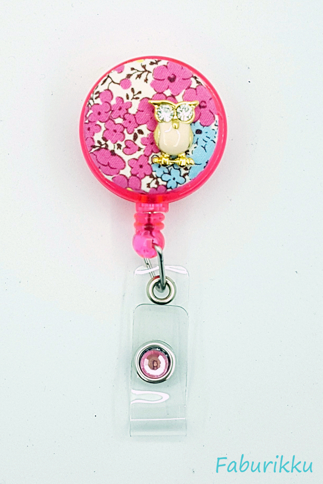 Owl Floral Pink Clip-On Badge Reel
