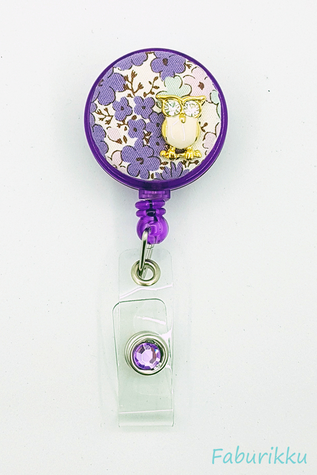 Owl Floral Purple Clip-On Badge Reel