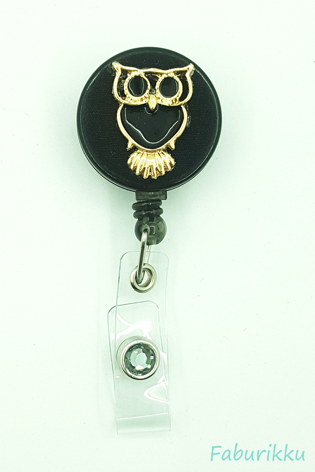 Owl Large Black Clip-On Badge Reel