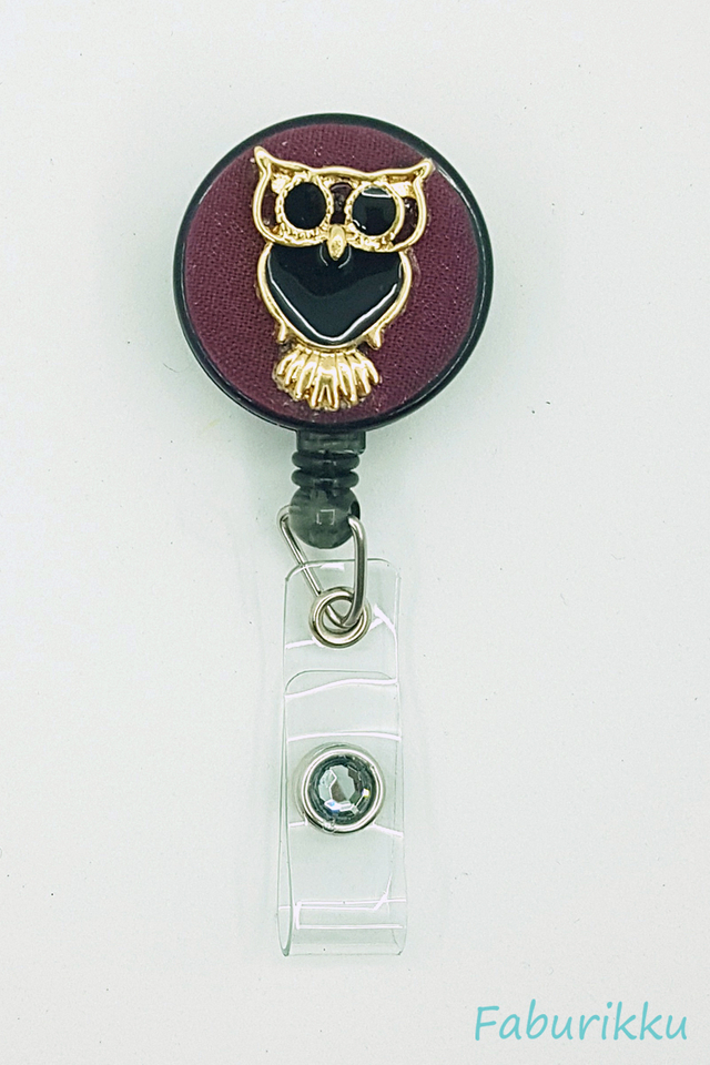 Owl Large Maroon Clip-On Badge Reel