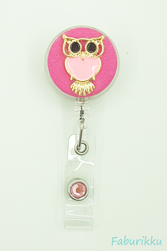 Owl Large Pink Clip-On Badge Reel