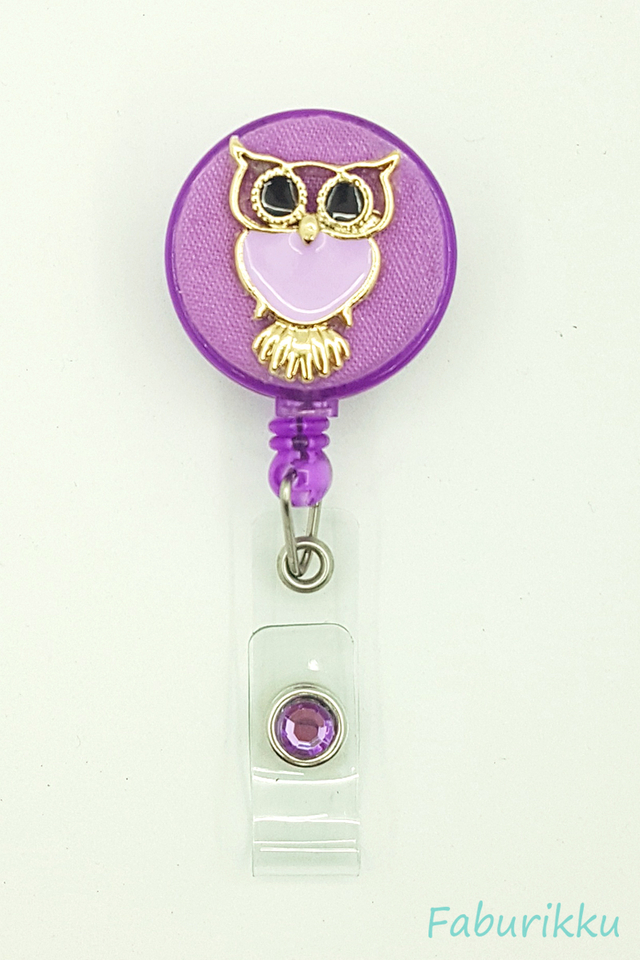 Owl Large Purple Clip-On Badge Reel