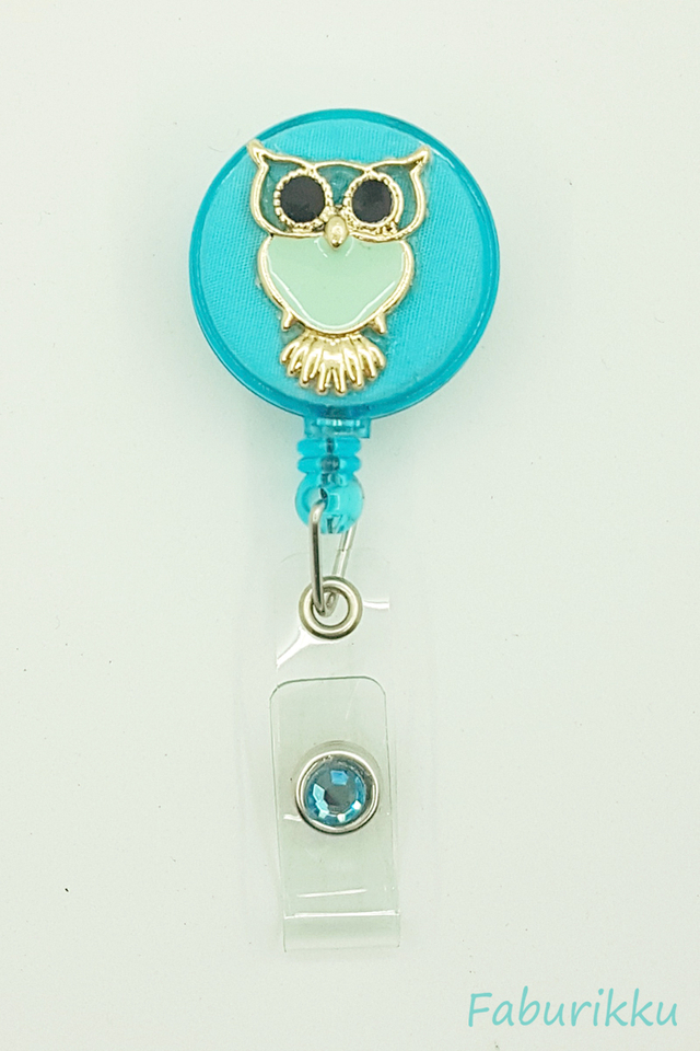 Owl Large Turquoise Clip-On Badge Reel