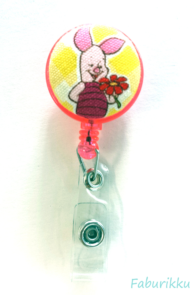 Piglet Pink Flower Clip-On Badge Reel