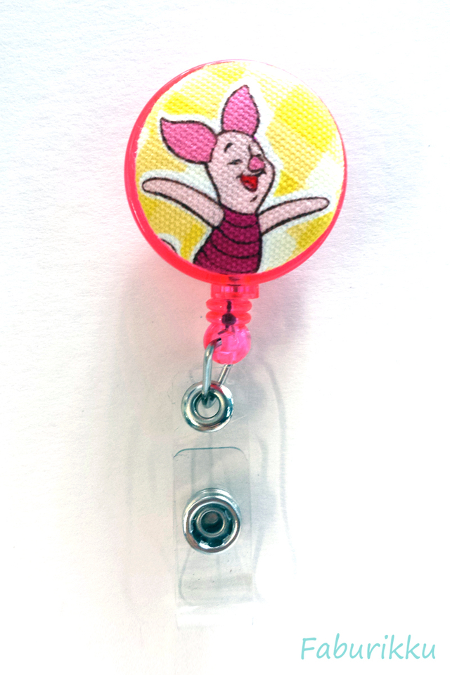 Piglet Pink Hug Clip-On Badge Reel