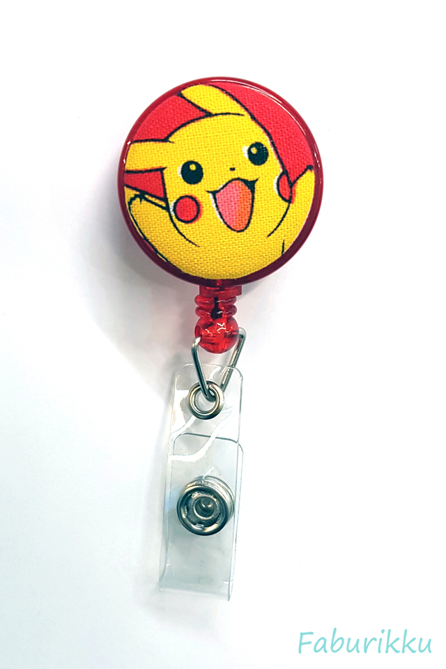 Pokemon Pikachu RedHandsup Clip-On Badge Reel