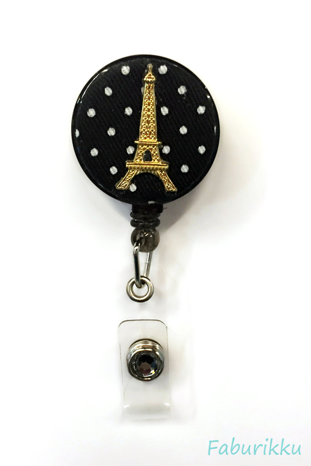 Polkadot Eiffel BlackGold Clip-On Badge Reel