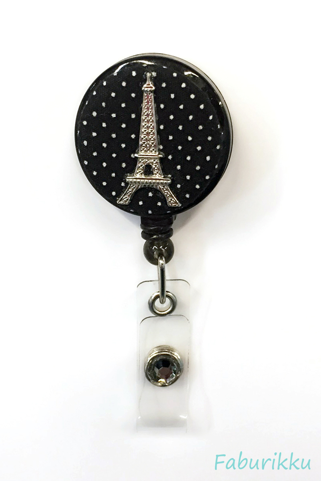 Polkadot Eiffel BlackSilver Clip-On Badge Reel