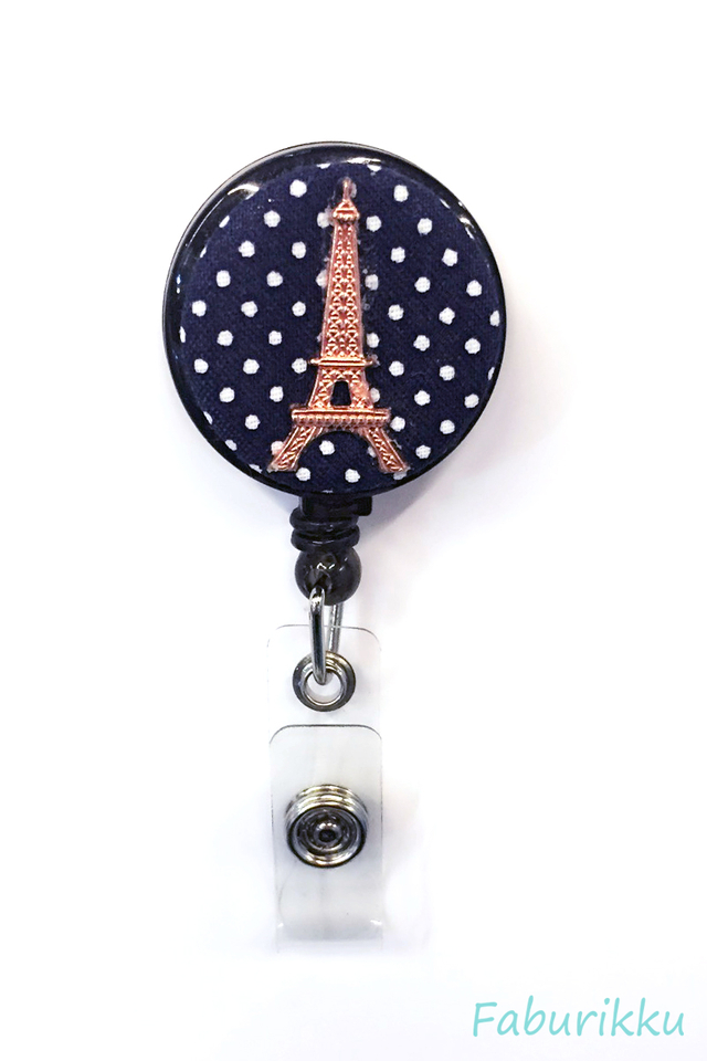 Polkadot Eiffel Navy Clip-On Badge Reel