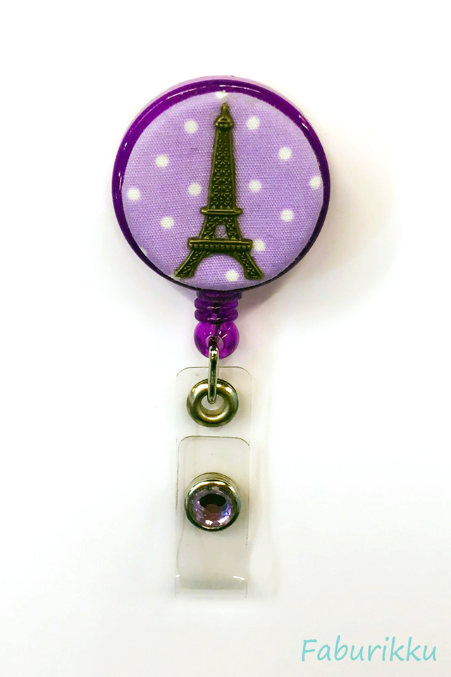 Polkadot Eiffel Purple Clip-On Badge Reel