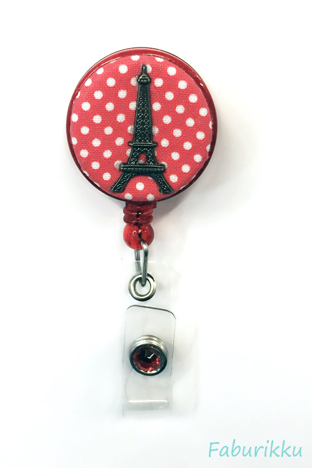 Polkadot Eiffel Salmon Clip-On Badge Reel